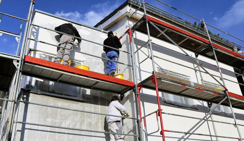 A scaffold on a footpath will increase the house painting cost.
